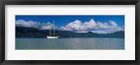 Framed Sailboat in a bay, Kaneohe Bay, Oahu, Hawaii, USA
