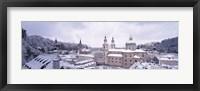 Framed Salzburg in winter, Austria