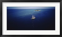 Framed High angle view of a sailboat in the ocean, Heron Island, Great Barrier Reef, Queensland, Australia