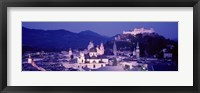 Framed Austria, Salzburg, Panoramic view of the city in dusk