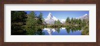 Framed Reflection of trees and mountain in a lake, Matterhorn, Switzerland