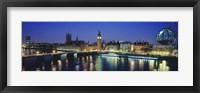 Framed Buildings lit up at dusk, Big Ben, Houses Of Parliament, Thames River, London, England