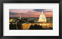 Framed High angle view of a city lit up at dusk, Washington DC, USA
