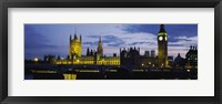 Framed Government Building Lit Up At Night, Big Ben And The Houses Of Parliament, London, England, United Kingdom