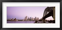 Framed Sydney Harbor Bridge with Purple Sky, Sydney, Australia