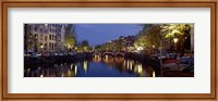 Framed Night View Along Canal Amsterdam The Netherlands