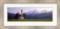 Framed St Coloman Church and Alps Schwangau Bavaria Germany
