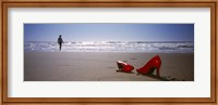 Framed Woman And High Heels On Beach, California, USA
