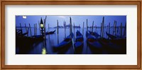 Framed Moored Gondolas at Night, Grand Canal, Venice, Italy