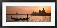 Framed Silhouette of a gondola in a canal at sunset, Santa Maria Della Salute, Venice, Italy
