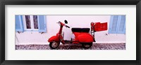 Framed Motor scooter parked in front of a building, Santorini, Cyclades Islands, Greece