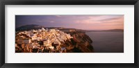 Framed Aerial view of town, Santorini, Greece