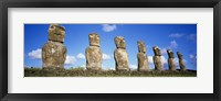 Framed Row of Stone Heads, Easter Islands, Chile