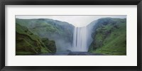 Framed Panoramic View Of A Waterfall, Skogafoss Waterfall, Skogar, Iceland