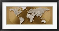 Framed Close-up of a World Map (gold)
