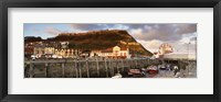 Framed Speed Boats At A Commercial Dock, Scarborough, North Yorkshire, England, United Kingdom