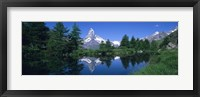 Framed Reflection of a snow covered mountain near a lake, Grindjisee, Matterhorn, Zermatt, Switzerland