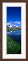 Framed Reflection of a mountain in water, Riffelsee, Matterhorn, Switzerland