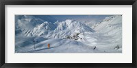 Framed Rear view of a person skiing in snow, St. Christoph, Austria