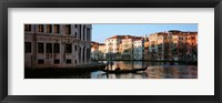 Framed Man on a gondola in a canal, Grand Canal, Venice, Italy