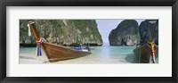 Framed Longtail boats moored on the beach, Mahya Beach, Ko Phi Phi Lee, Phi Phi Islands, Thailand