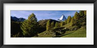 Framed Low angle view of a mountain peak, Matterhorn, Valais, Switzerland
