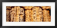 Framed Sculptures carved on a wall of a temple, Jain Temple, Ranakpur, Rajasthan, India