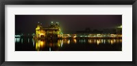 Framed Temple lit up at night, Golden Temple, Amritsar, Punjab, India