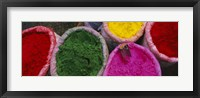Framed High angle view of various tika powders, Braj, Mathura, Uttar Pradesh, India