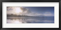 Framed Panoramic view of a river at dawn, Vuoski River, Imatra, Finland