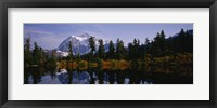 Framed Reflection of trees and mountains in a lake, Mount Shuksan, North Cascades National Park, Washington State