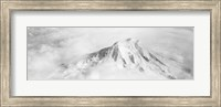 Framed Aerial view of a snowcapped mountain, Mt Rainier, Mt Rainier National Park, Washington State, USA
