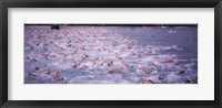 Framed Triathlon athletes swimming in water in a race, Ironman, Kailua Kona, Hawaii, USA