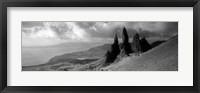 Framed Rock formations on hill in black and white, Isle of Skye, Scotland
