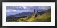Framed Rock formations on hill, Old Man of Storr, Isle of Skye, Scotland