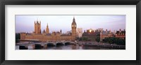 Framed Arch bridge across a river, Westminster Bridge, Big Ben, Houses Of Parliament, Westminster, London, England