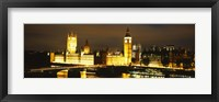 Framed Buildings lit up at night, Westminster Bridge, Big Ben, Houses Of Parliament, Westminster, London, England