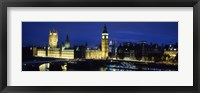 Framed Buildings lit up at dusk, Westminster Bridge, Big Ben, Houses Of Parliament, Westminster, London, England