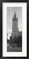 Framed Group of people walking near a church, La Giralda, Seville Cathedral, Seville, Seville Province, Andalusia, Spain
