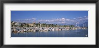 Framed Boats moored at a harbor, Lake Geneva, Lausanne, Switzerland