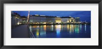 Framed Buildings lit up at night, Geneva, Switzerland