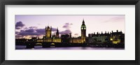 Framed Buildings lit up at dusk, Big Ben, Houses of Parliament, Thames River, City Of Westminster, London, England
