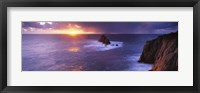 Framed Sunset over the sea, Land's End, Cornwall, England