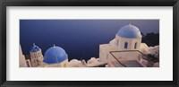Framed High angle view of blue domed church at the coast, Oia, Santorini, Greece