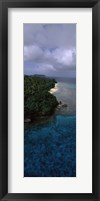Framed Aerial view of a coastline, Vava'u, Tonga, South Pacific