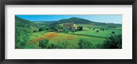Framed High angle view of a church on a field, Abbazia Di Sant'antimo, Montalcino, Tuscany, Italy