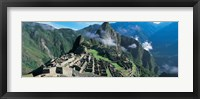 Framed High angle view of ruins of ancient buildings, Inca Ruins, Machu Picchu, Peru
