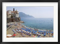 Framed Houses on the sea coast, Amalfi Coast, Atrani, Salerno, Campania, Italy