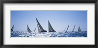 Framed Sailboats racing in the sea, Farr 40's race during Key West Race Week, Key West Florida, 2000