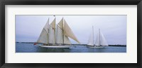 Framed Sailboats in the sea, Narragansett Bay, Newport, Newport County, Rhode Island, USA
